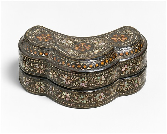 Covered Box from Korea, 10th-12th century, lacquer inlaid w/mother-of- pearl and tortoiseshell