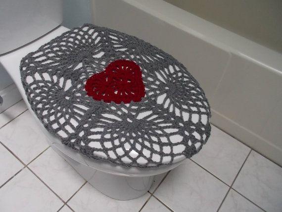 Crochet Toilet Seat Cover - true grey/burgundy or dark red