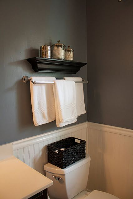 I love the bead board, towel rack and shelf.