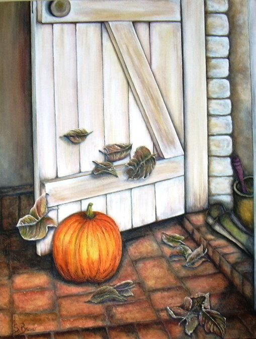 Stella Bruwer pumpkin on tile floors by open white door