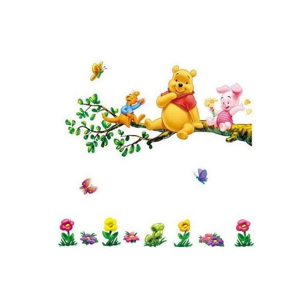 Winnie The Pooh Flowers Wall Decals Decor PVC Removable Room Sticker... ❤ liked on Polyvore featuring home, home decor, wall art, wall decals, wall tattoos, wall paper decal, flower wall decals and flower wall art
