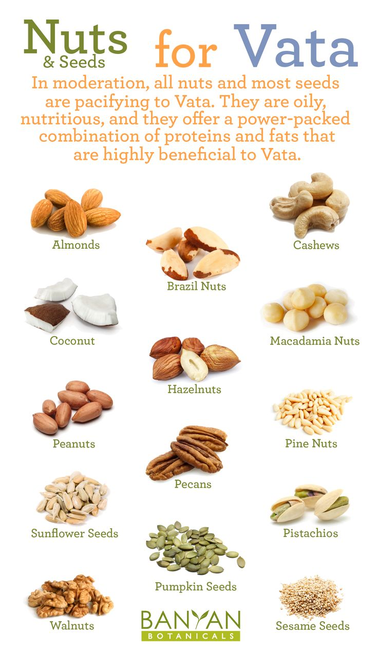 In moderation, all nuts and most seeds are pacifying to Vata. They are oily, nutritious, and they offer a power-packed combination of proteins and fats that are highly beneficial to Vata.                                                                                                                                                                                 More