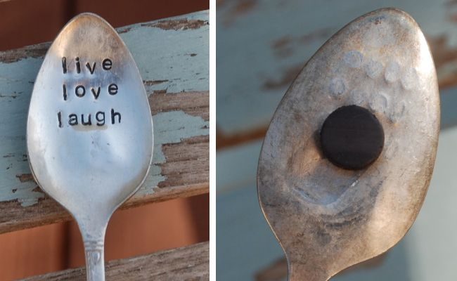 Recycled Spoon Magnets  Pick up old silverware at yard sales or Goodwill then select anidea from this site.
