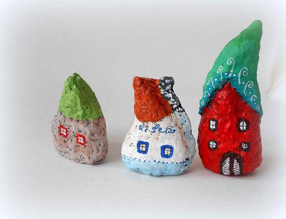 Set of three miniature paper mache houses by cukipokshop on Etsy