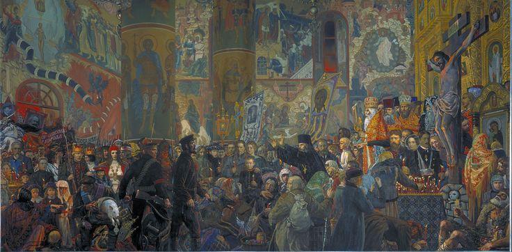 Разгром  храма  в  авсхальную  ночь.   Илья  Глазунов.