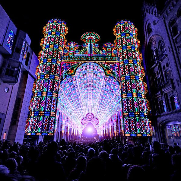 The Light Festival in Ghent, Belgium , the cathedral is decorated with LED lights.