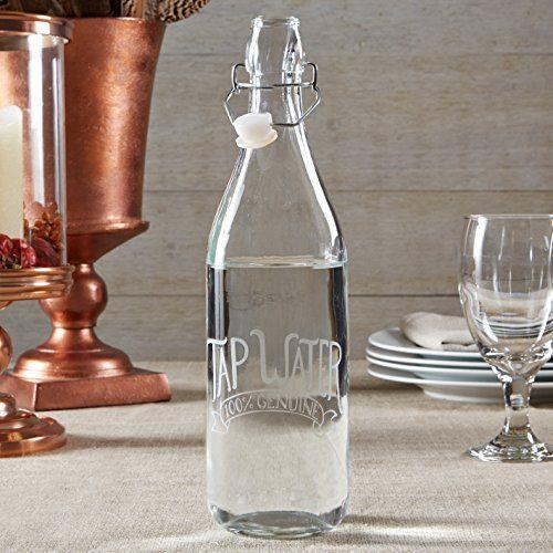 """Glass bottle. """"Tap Water: 100% Genuine."""""""