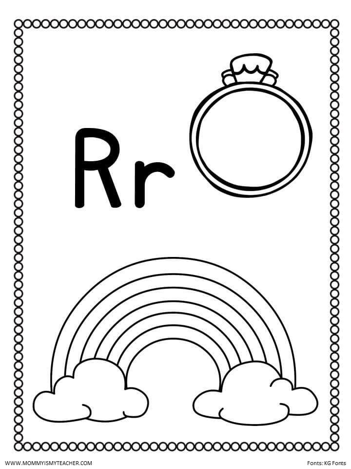 R Color Jpg Alphabet Kindergarten Letter R Be My Teacher Kindergarten worksheets letter r