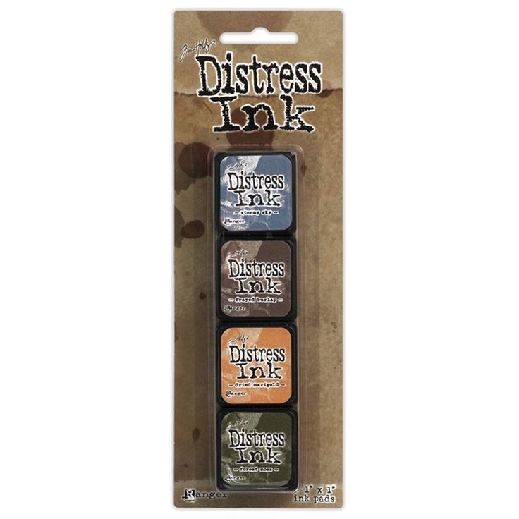 """Kit 9 (Includes Stormy Sky, Frayed Burlap, Dried Marigold & Forest Moss). The addition of Mini Distress Ink Pads! Ranger has taken the same unique, water-based dye ink formula used inthe full size Distress Ink pads and has put it in a convenient stackable 1"""" x 1"""" pad. Mini Distress Ink Pads feature a raised felt pad making it easy to use on smaller ..."""