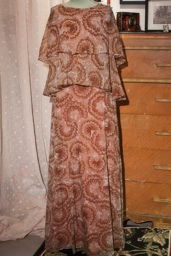 VTG 70'S Chiffon Two Tier Cape Dress by TheTarrowBoutique on Etsy, $32.00