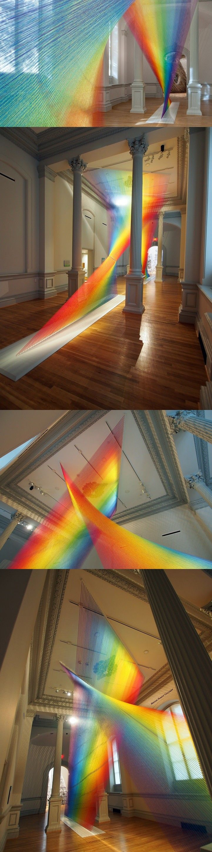 Vibrant Rainbow Installation Made with 60 Miles of Thread Weaves through the Smithsonian by Gabriel Dawe