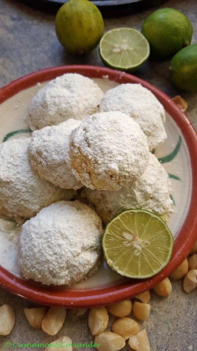 Mexikanische Hochzeitskekse mit Limette und Macadamia Nüssen