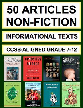 Informational Text Questions: 50 Non-Fiction Articles: Teach Common Core informational Text Reading Skills with 50 non-fiction articles and accompanying text-based questions that students will love! FULL-YEAR'S WORTH OF NON-FICTION READING RESPONSE ACTIVI