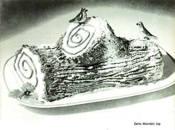 Vintage 1950s Christmas Swiss Mountain Yule Log Cake Recipe PDF and 4 FREE Recipes for you to enjoy!