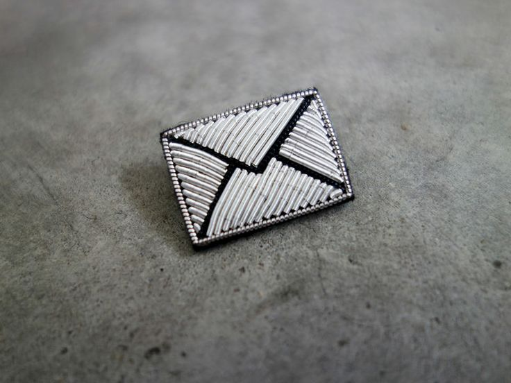Hand Embroidered Silver Letter Brooch by Macon & Lesquoy