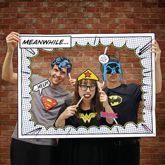 superhero photo booth props includes frame batman superman wonder woman dccomics parties