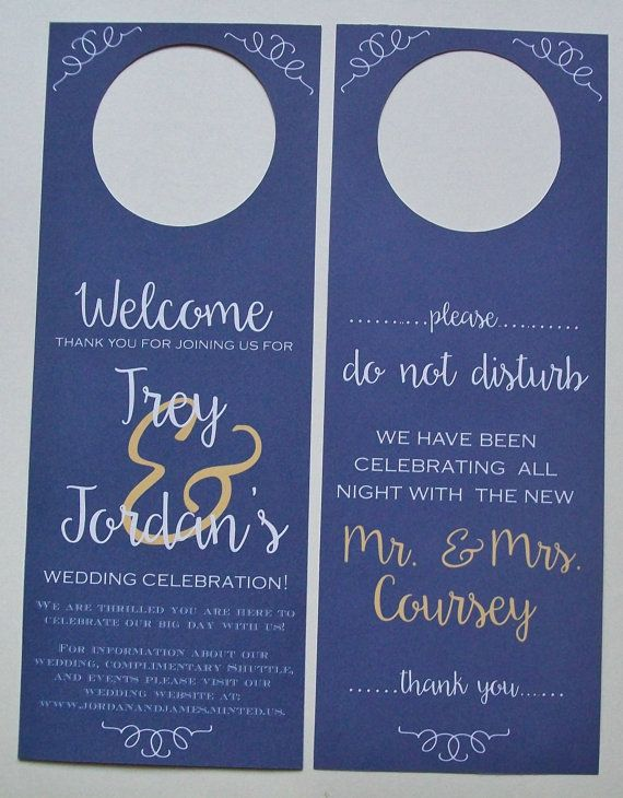 Hotel Door Hangers - Double Sided for Out of Town Wedding Guests - Do Not Disturb - Welcome Bags  sc 1 st  Pinterest & 133 best gift wrapping ideas images on Pinterest | Packaging ideas ...
