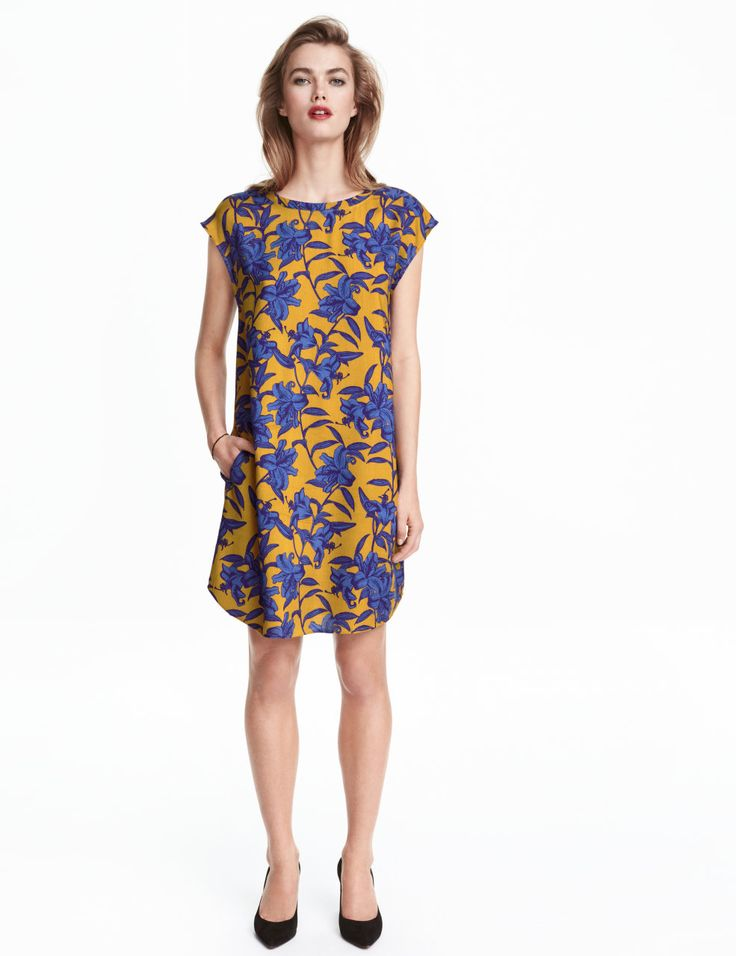 Patterned Dress | Mustard yellow/patterned | Ladies | H&M US