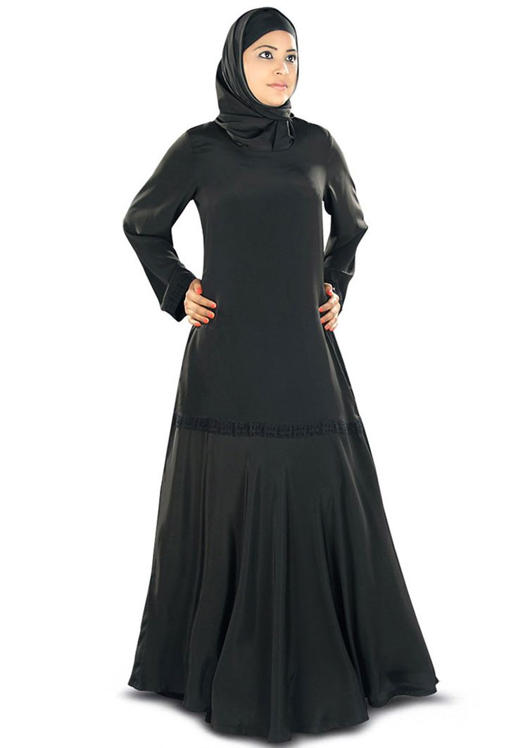 Black Faux Crepe Readymade Abaya with Hijab: QAM186