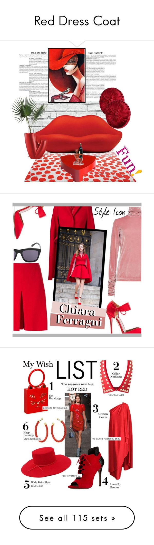 """Red Dress Coat"" by yours-styling-best-friend ❤ liked on Polyvore featuring love, red, dress, LoveIt, reddress, interior, interiors, interior design, home and home decor"
