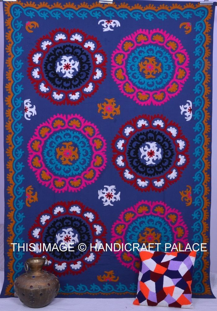 Indian Hand Embroidered Suzani Bedspread Multi Colour Twin Size Bed Cover Throw…