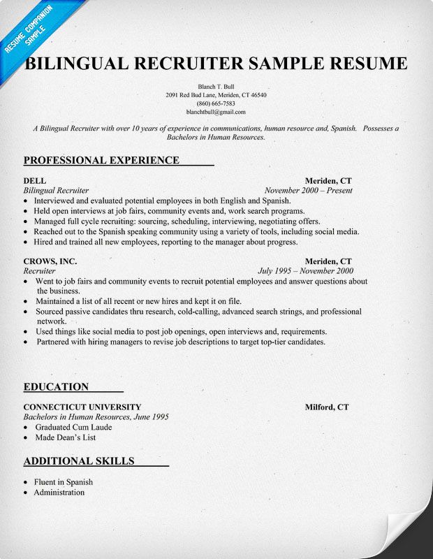 bilingual recruiter resume sample httpresumecompanioncom. Resume Example. Resume CV Cover Letter