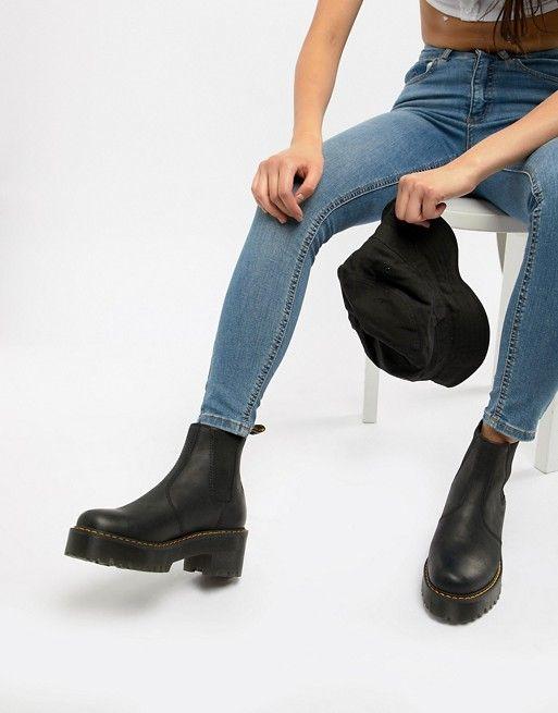 4f4a3e3c3da Dr Martens Rometty Black Leather Heeled Chelsea Boots in 2019
