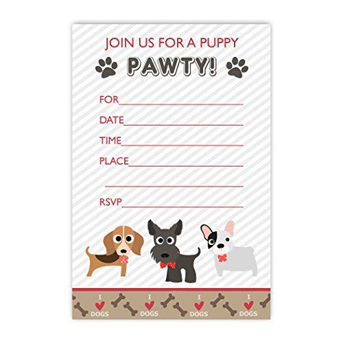 20 Dog Flat Invitations with Envelopes - Red Fox Tail Red...