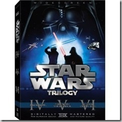 Star Wars trilogy DVD set; yes, the originals. For us