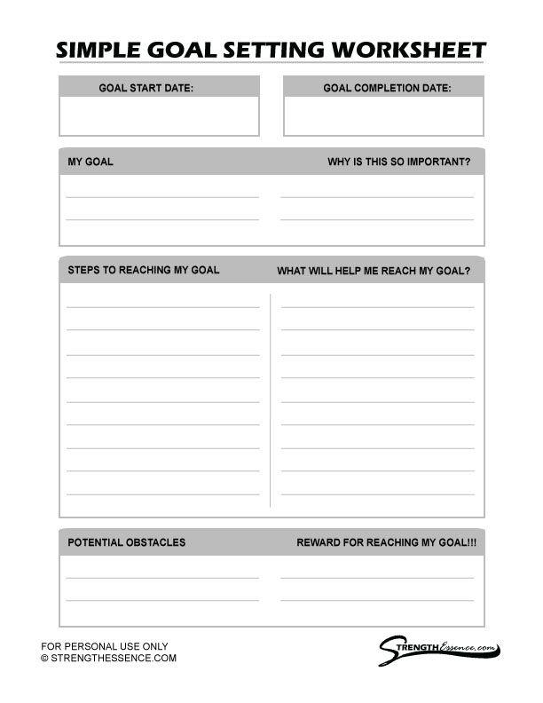 Free 2020 Simple Goal Setting Worksheet Pdf In 2020 Goal