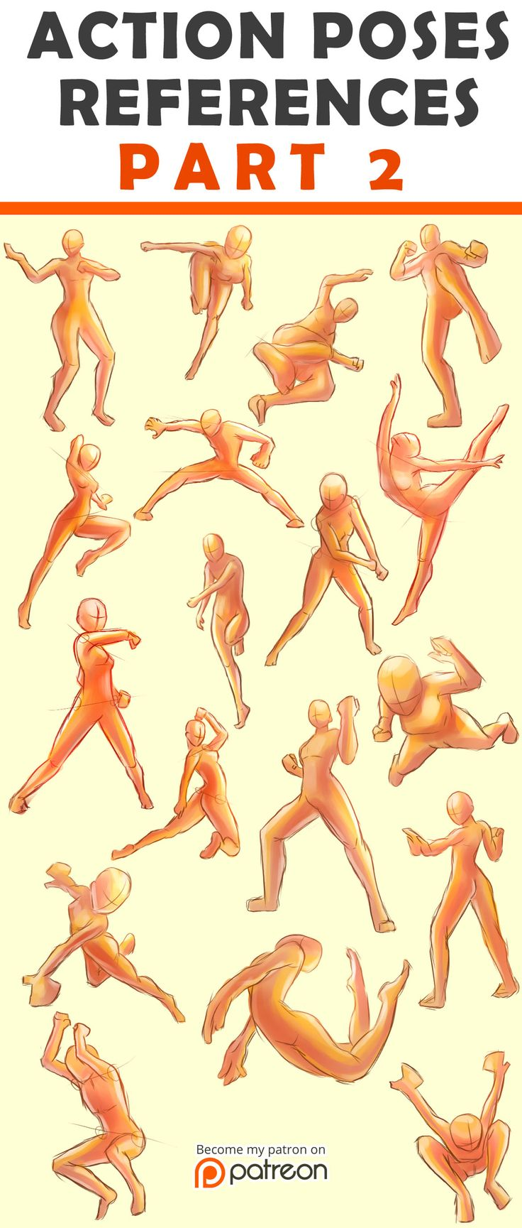 Action Poses Reference Sheet #2 by Seiorai on @DeviantArt