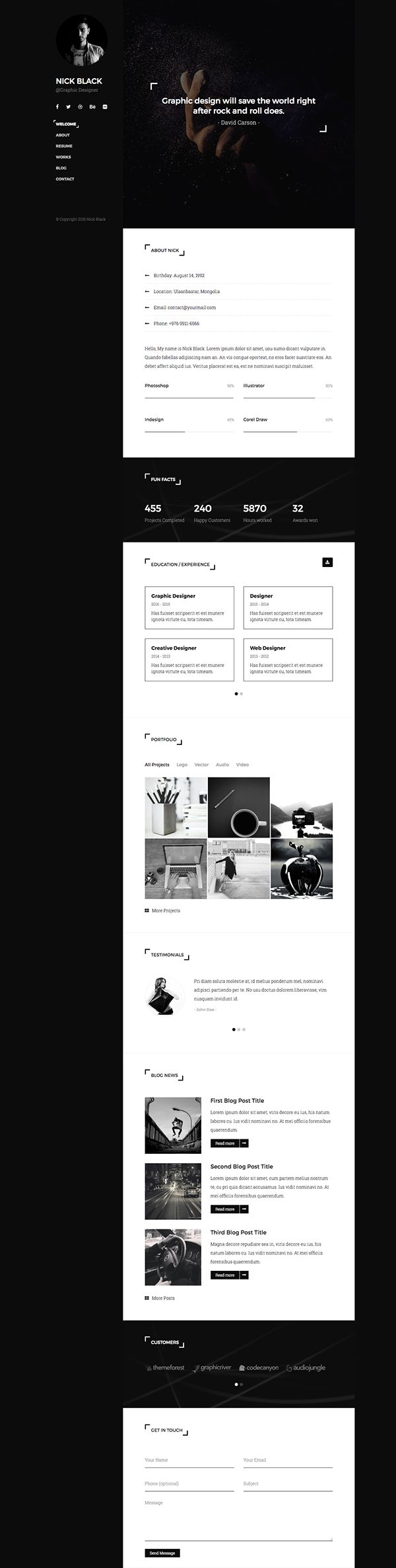carpenter resume sample%0A Buy Blvck  Personal vCard  u     Resume Template by PxlSolutions on  ThemeForest  Blvck is a fully responsive personal vCard and Resume  CV  template