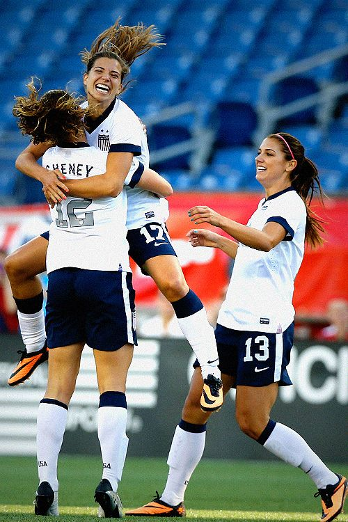 Soccer - USWNT celebrating Lauren Cheney's goal! Tobin Heath & Alex Morgan