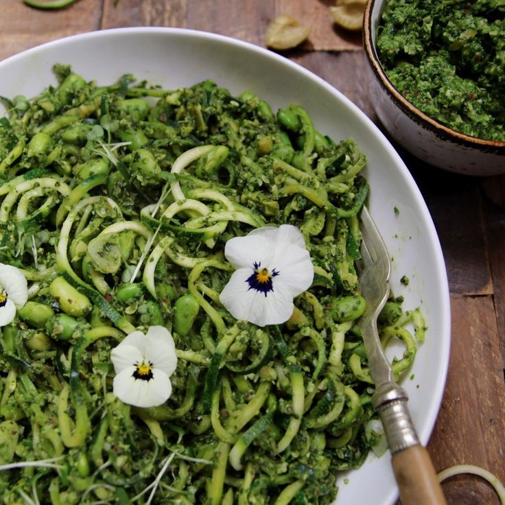 Courgette Pasta with Spinach and Kale Pesto and Edamame