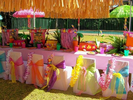 luau luau luau: Chairs Decoration, Party Idea, Pools Party, Luau Themed, Kids Party, Chairs Covers, Luau Party, Birthday Party, Hawaiian Party