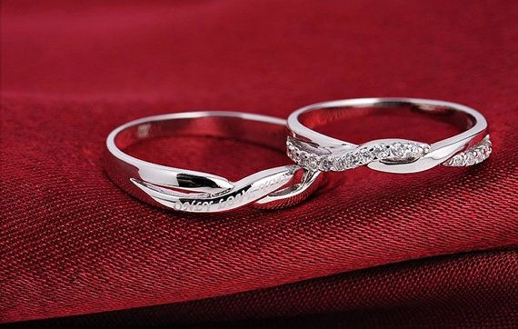 2pcs Free Engraving platinum rings, Wedding Couples Rings, Lovers rings, his and hers promise ring sets, wedding rings, matching ring