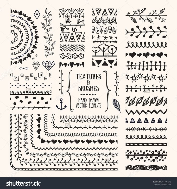 Hand Drawn Textures And Brushes. Artistic Collections Of Design Elements: Flowers, Brunches, Plants, Geometric Shapes, Ethnic Patterns Made With Ink. Pattern Brushes Are Included In Eps. Ilustración vectorial en stock 361491575 : Shutterstock
