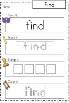 Sight Words - Read it - Trace it - Stamp it - Color it (40 Pre-Primer Words). A no prep center! Love it for word work.