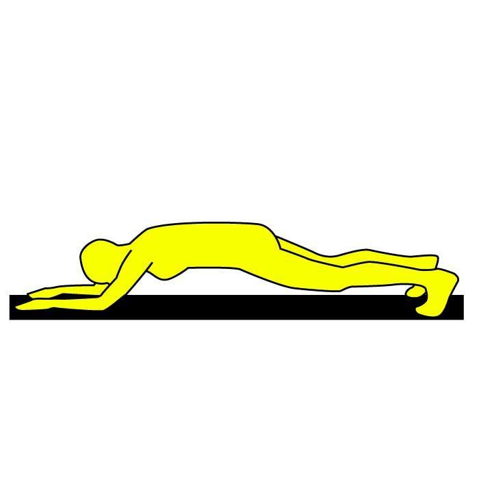 ■やり方 1.床にうつ伏せになります。  2.両ひじを目の真下に  くるようにして、ひじの  幅は肩幅にします。  3.画像のように、全身を  床から浮かせ、つま先と  両ひじでカラダを支えます。   4.両ひじ、両つま先をお腹側に  寄せるようにして力を入れ、  30秒キープします。   つらくなって背中が反ってきたら  すぐに体勢を崩しましょう。  できれば連続30秒!難しい場合は10秒×3回行いましょう。  お腹全体にしっかりと効果のある エクササイズなので、毎日やるのがオススメです♫