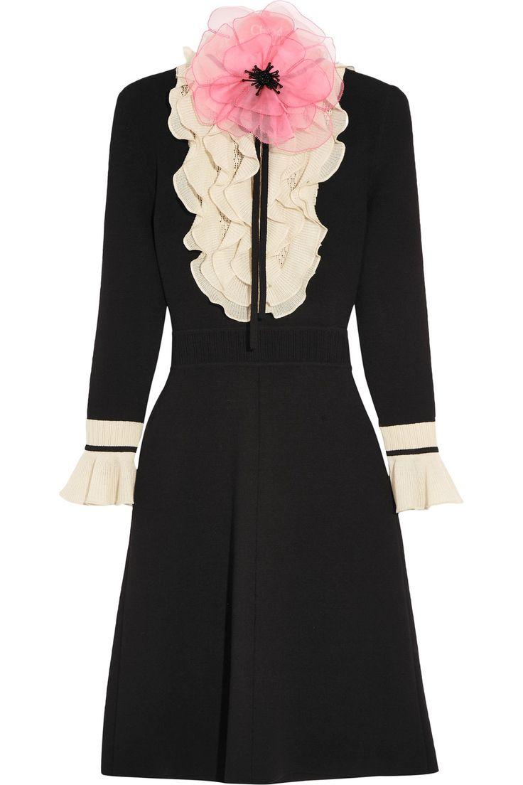 Gucci | Organza-embellished ruffled wool mini dress | NET-A-PORTER.COM
