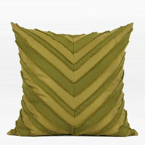 "Wasabi Green Tassel V Stripe Textured Pillow 20""X20"""