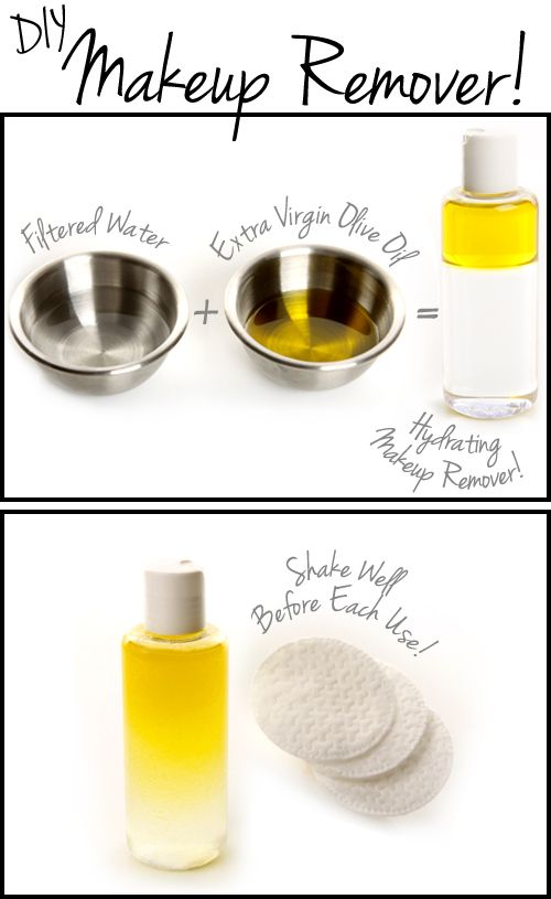 Makeup Remover:  Fill the container 3/4 of the way full with filtered water and fill the other 1/4 with extra virgin olive oil