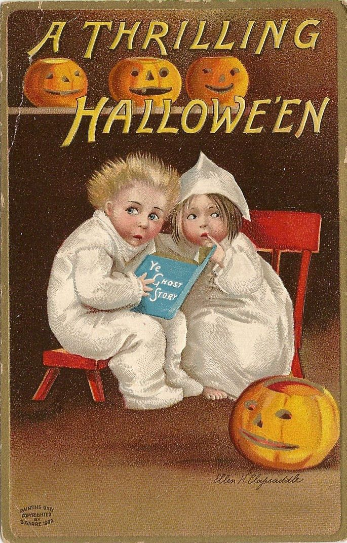 A Thrilling Halloween ~ c1909 vintage holiday postcard of spooked children reading ghost stories ~ artwork by Ellen Clapsaddle | via eBay