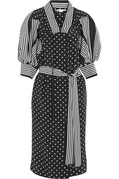 Stella McCartney - Valeria Ruffled Printed Silk Dress - Black - IT42