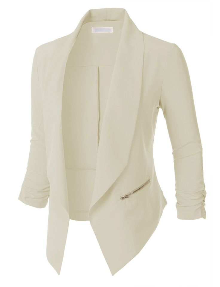 LE3NO Womens Open Front Ruched 3/4 Sleeve Blazer Jacket