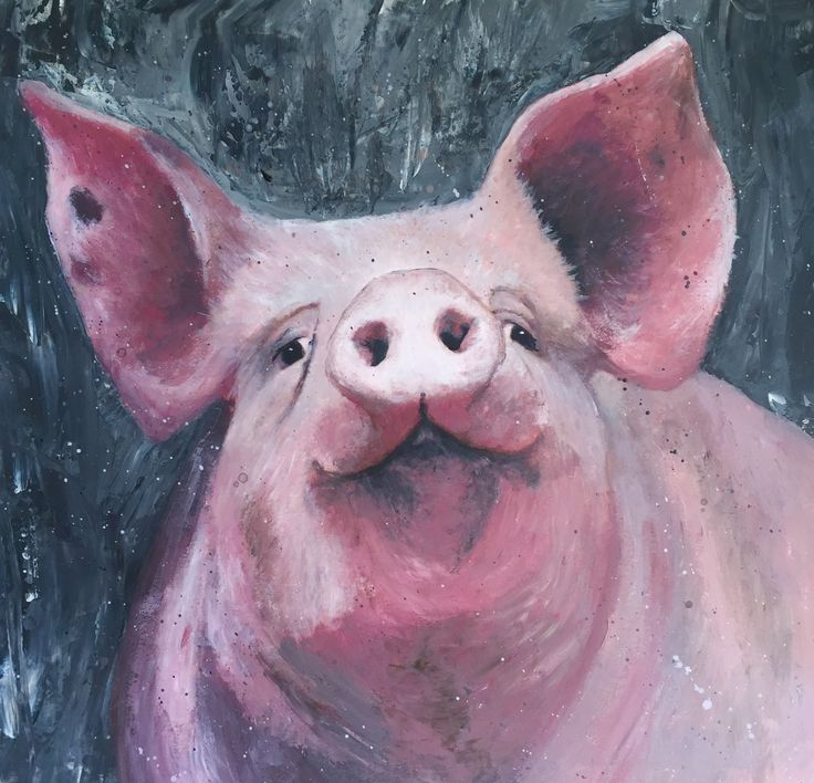 Happy Pig  Acrylic painting By Christine Pettet Art Instagram @christinepettetart