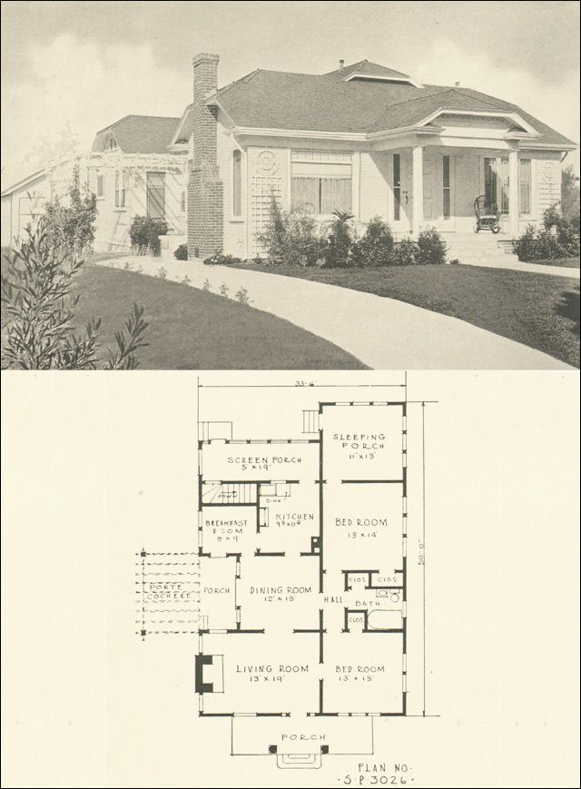 1924 southern pine assn plan 3026 love the sleeping for House plans with sleeping porch