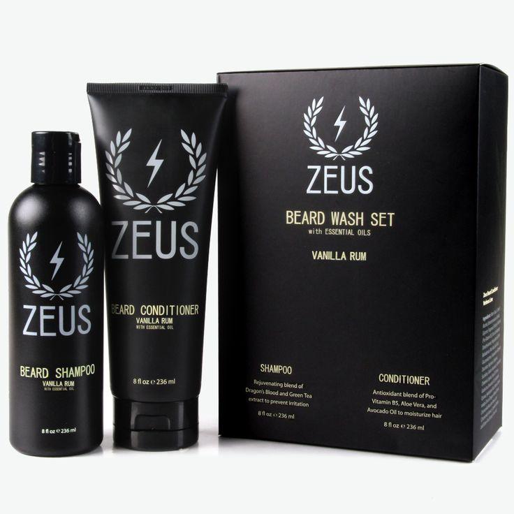 Beard Shampoo and Conditioner Set (8 fl oz), Zeus Vanilla Rum