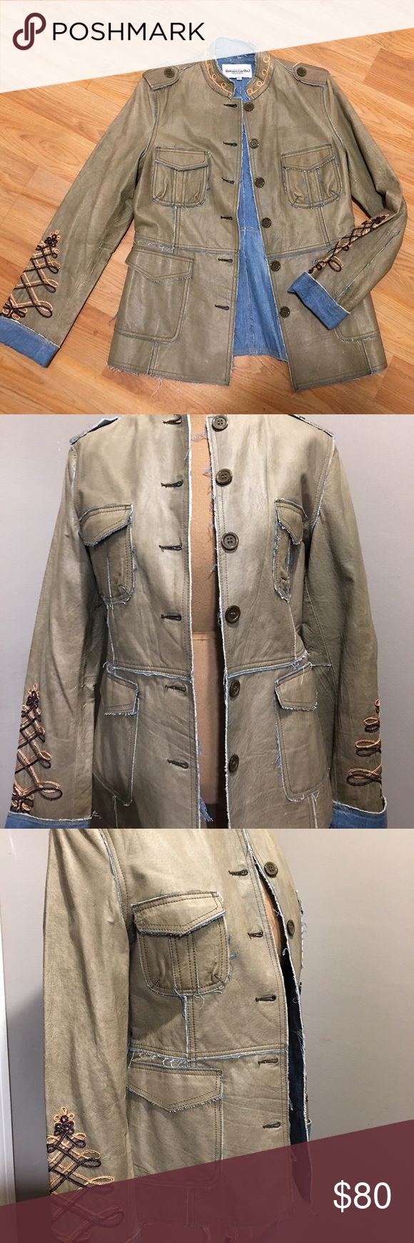Unique Rebecca Blu Custom Leather & Denim Jacket L New without tags never worn very rare unique jacket in light olive Army green lambskin genuine leather with a thin blue denim lining size large shoulders 16.5 bust 38 sleeve 24 length 26 ...  REASONABLE OFFERS WELCOME 🌻 Rebecca Blu Boutique Quality Jackets & Coats Jean Jackets