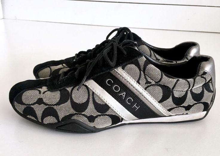 Coach Tennis Shoes Size 8M Black White Silver Coach Jayme Sneakers Flats #Coach #Tennis